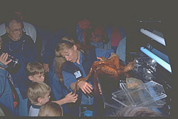 Children learn about an octopus at the Alaska Sea Life Center