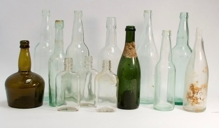 Historic beverage bottles from archeological dig in Seward, Alaska.