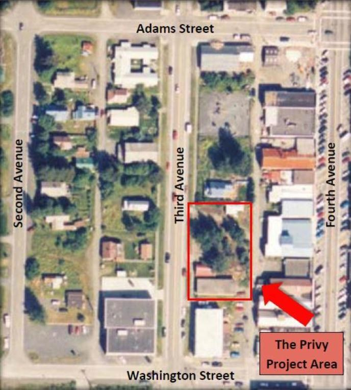 Privy Project Area Map of downtown Seward, Alaska.