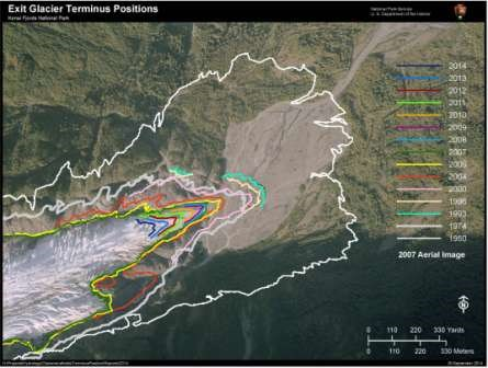 This is an aerial view of Exit Glacier from the end of 2014. Overlaid on the map are lines showing the historical extent of the glacier back to 1950.