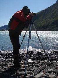NPS staff conducting research at Holgate Glacier.