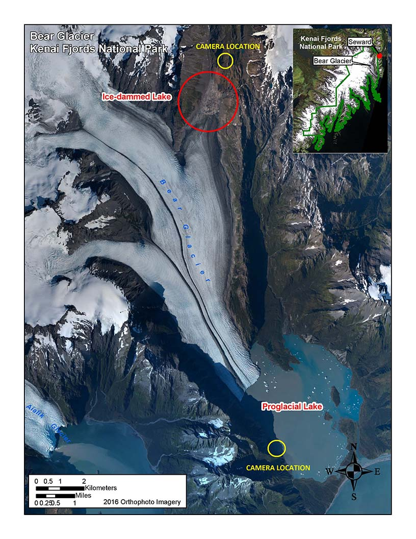A satellite image of Bear Glacier, showing the location of the camera installation.