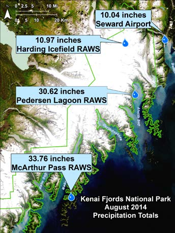 Map of Kenai Fjords National Park, with the rainfall measured at 3 Remote Automated Weather Stations (RAWS) and at the Seward Airport.