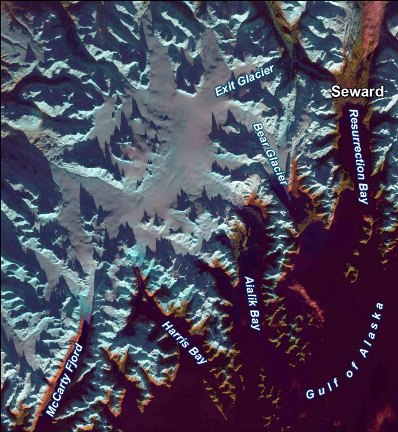Satellite image of the northern section of Kenai Fjords National Park.