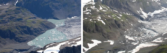 Before and after photographs of the unnamed, glacier-dammed lake.