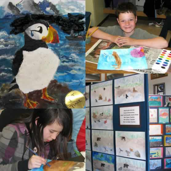 Students and art work from Kenai Fjords 2009 art show