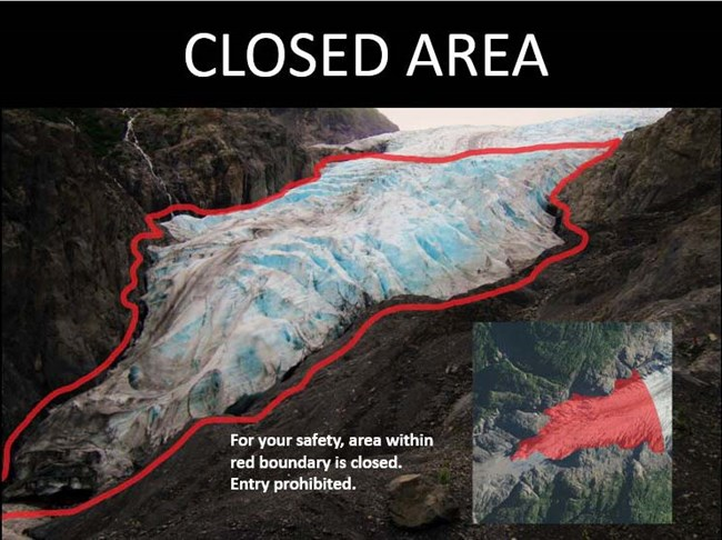 The front section of Exit Glacier is surrounded by a red line, signifying the ice fall hazard zone. It is made up of tall blocks of ice covered in snow.