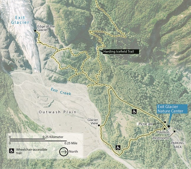 Map of the Exit Glacier Area, including trails, restrooms, nature center, and parking lot, as described in the text.