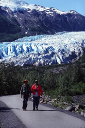 Visitors on the paved trail at Exit Glacier