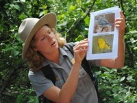 A park ranger holds pictures of two local birds.
