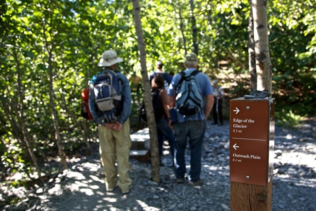 A group of people with daypacks, walking past a trail sign on a crushed gravel path in the woods.