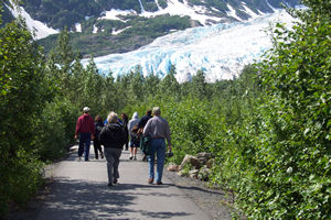 Visitors on the main, paved trail to Exit Glacier.