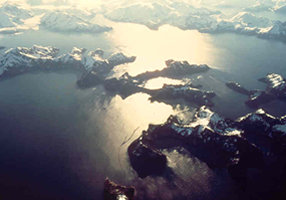 Aerial photo of fjords.