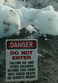 Sign warning visitors of falling ice hazard