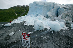 Dangerous, unpredictable ice fall at Exit Glacier.