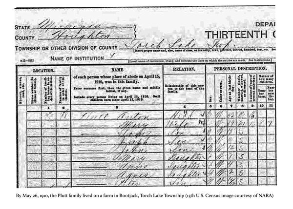 13th U.S. Census image from Torch Lake Township