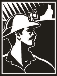 A white and black illustrated logo with a miner that has a hat with a light on it.