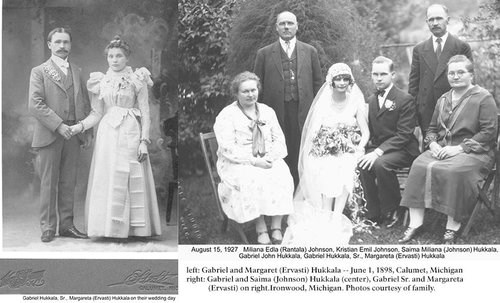 Two separate wedding photographs with a bride and groom.