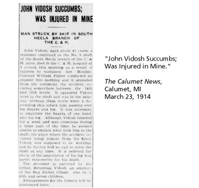 "Newspaper article titled: ""John Vidosh Succumbs; Was Injured In Mine."""