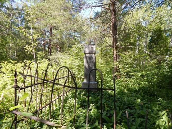 A grave marker is surrounded by a small iron fence in a forest.