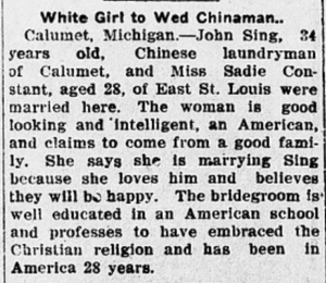 A newspaper clip about the wedding of Charles Sing and Sadie Constant.
