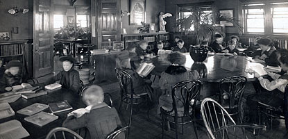 Historic photo of library patrons using the Children's Reading Room at the C&H Public Library.