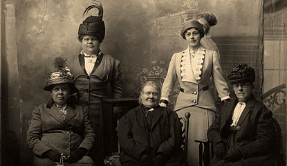 Portrait of Maggie Walz (back row on left) with other Finnish women, circa 1910.