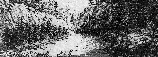 "Despite Douglass Houghton's description of the Ontonagon Boulder as ""a mere stone, a large pebble,"" Henry Rowe Schoolcraft's illustration greatly exaggerated the real size of the boulder, making it larger than a six-man canoe."