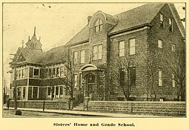 Historic photo: Sisters' home and grade school from 1918 Sacred Heart Catholic Church Golden Jubilee.