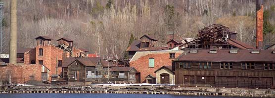 Ruins of the Quincy Smelter are located on Portage Lake across from the Houghton waterfront.