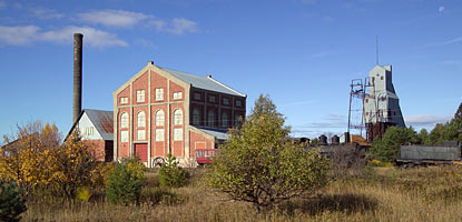 The morning sun warms the east side of the Quincy Mine's massive Hoist House for the Nordberg Steam Hoist.