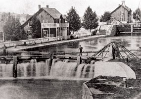 Historic photo: St. Marys Falls Ship Canal (today know as the Sault Locks)