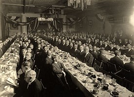 Historic Photo: The Masons hold their 50th Anniversary banquet in the third floor ballroom of Calumet's Union Building.