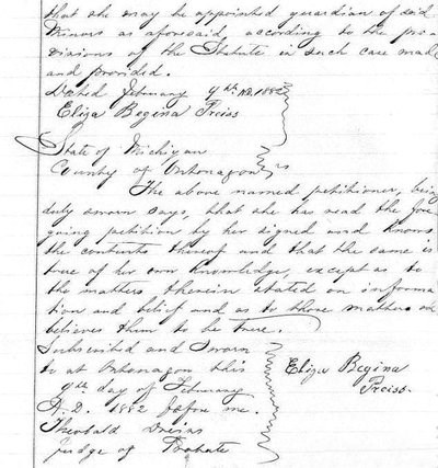 An excerpt from the 1882 Ontonagon County probate record from the estate of August Preiss.