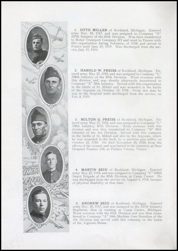 Five faces of young men and their wartime biographies are featured from World War I.