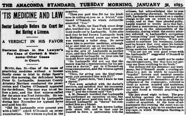 "Article from The Anaconda Standard newspaper, Tuesday morning, January 31, 1893 titled ""'Tis Medicine and Law"""