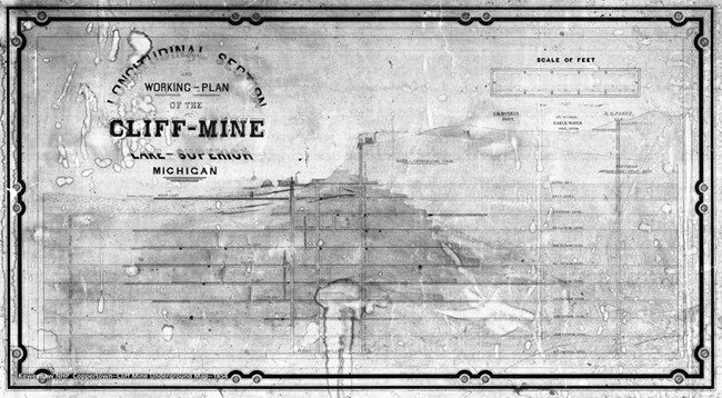 The workings of the Cliff Mine shown in blueprint form with shafts and drifts