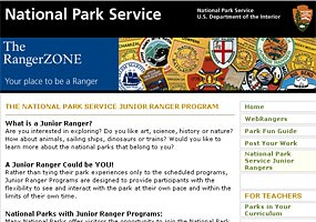 Click here to go to the RangerZone for information on National Park Service Junior Ranger Programs.
