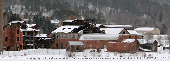 Snow falls on the remains of the Quincy Copper Smelter complex near Hancock, Michigan