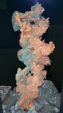 A native copper specimen on display at the A.E. Seaman Mineral Museum