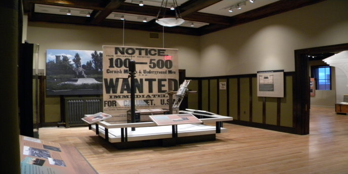 An exhibit on the second floor of the Calumet Visitor Center showcases objects preserved in the park's museum collection.