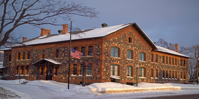 The park's headquarters, shown here in winter, was constructed of brick, waste mine rock, and granite.