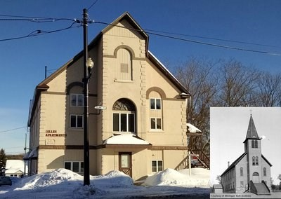 Two photos juxtaposed showing what was once a church is now an apartment building.