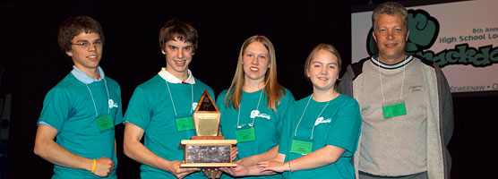 photo: Winners of the 2008 High School Local History Smackdown, the Minds from Jeffers High School, hold their trophy.