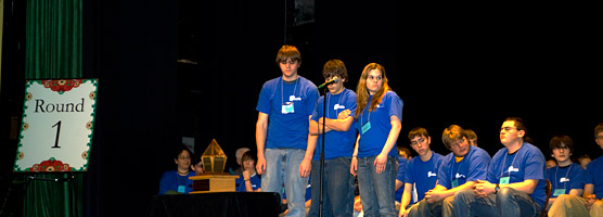 Photo of the Firesteel Phantoms team from Ontonagon Area High School during Round 1 of the 2009 High School Local History Smackdown.