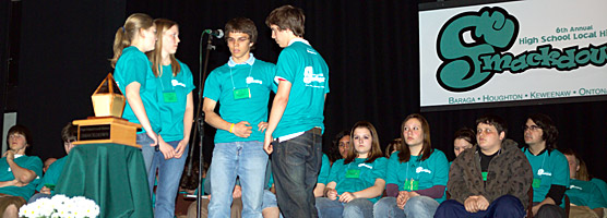 photo: The winners of the 2008 High School Local History Smackdown, the Painesdale Minds, deliberate a question.