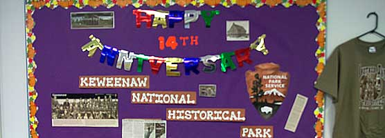 Bulletin board in the CLK Elementary Library celebrating park's anniversary.