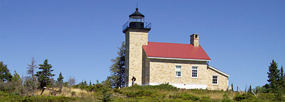 Replaced by an automated light, the historic Copper Harbor Lighthouse features exhibits for visitors to Fort Wilkins State Park.