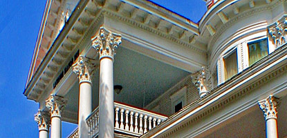The porch to the Laurium Manor Inn reveals the ornate features of the home built for Thomas Hoatson and his family.