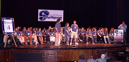 Participants fill the stage at the Calumet Theatre during the 2006 High School Local History Smackdown
